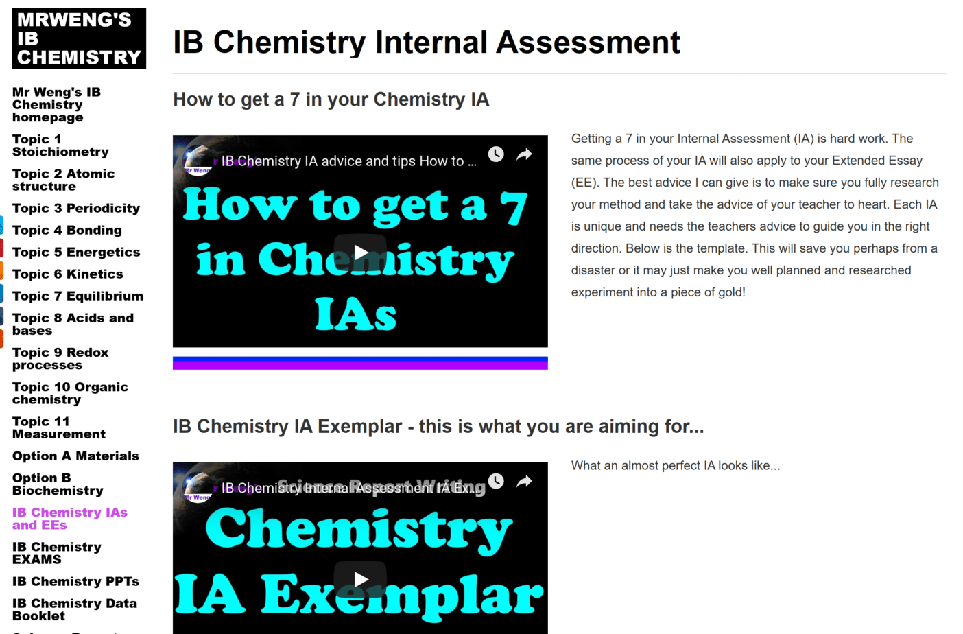Top IB Resources - Chemistry!